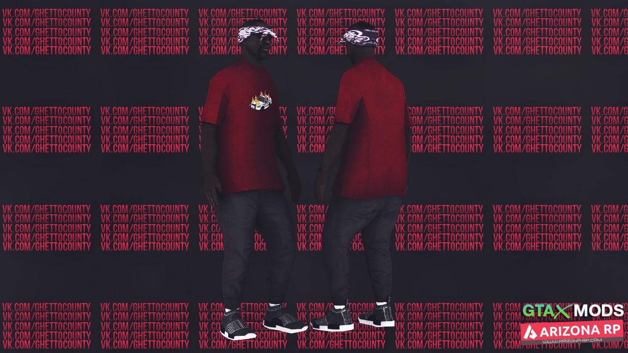 ballas1   Принт на красной футболке