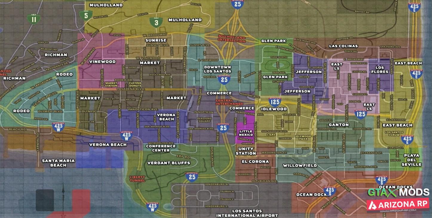 Карта с подписанными Районами