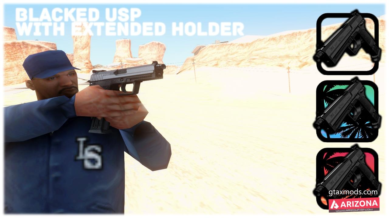 BLACKED USP WITH EXTENDED HOLDER