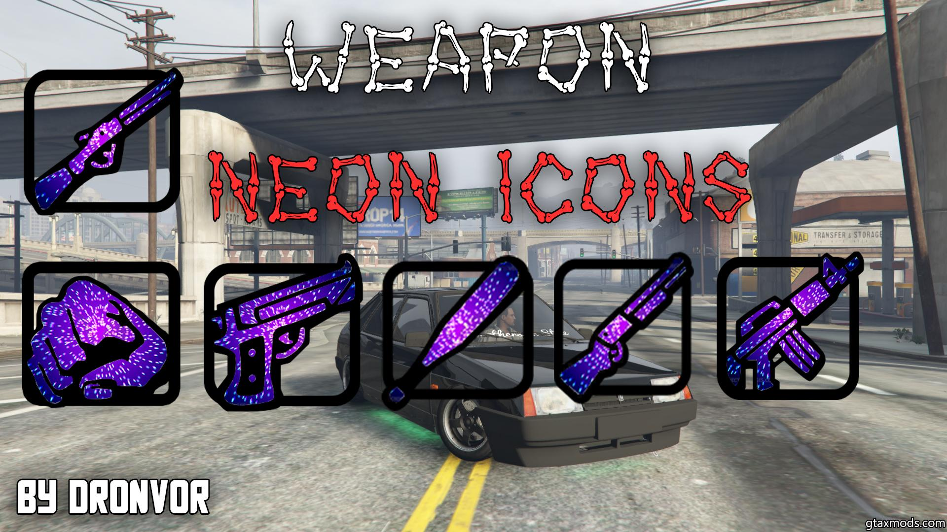 Weapon neon icons by Dronvor