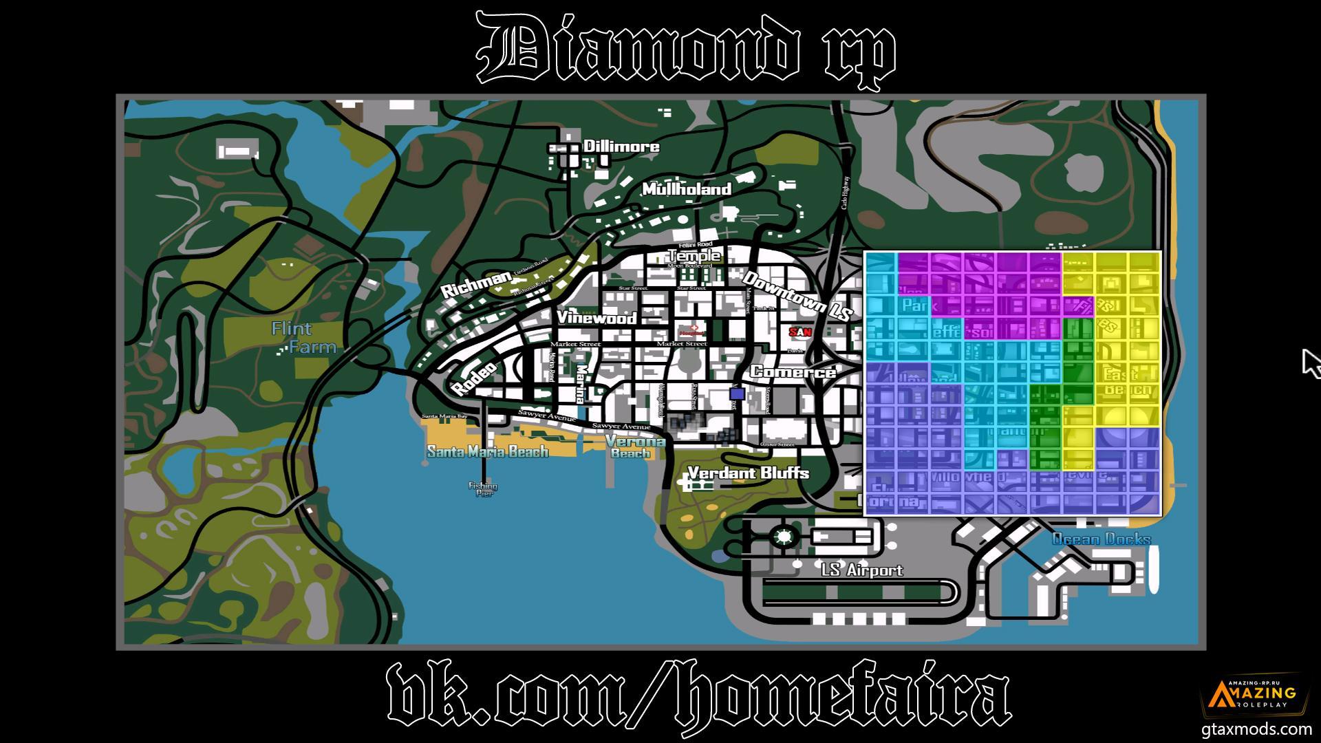 Diamond RP | Карта с улицами, территориями гетто